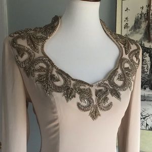 {True Vintage} Oleg Cassini nude beaded gown sz 6